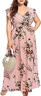 KYLEON Womens Plus Size Sun Dress Empire Waist Wrap V Neck Floral Print Boho Chiffon Sleeveless Party Long Maxi Dress