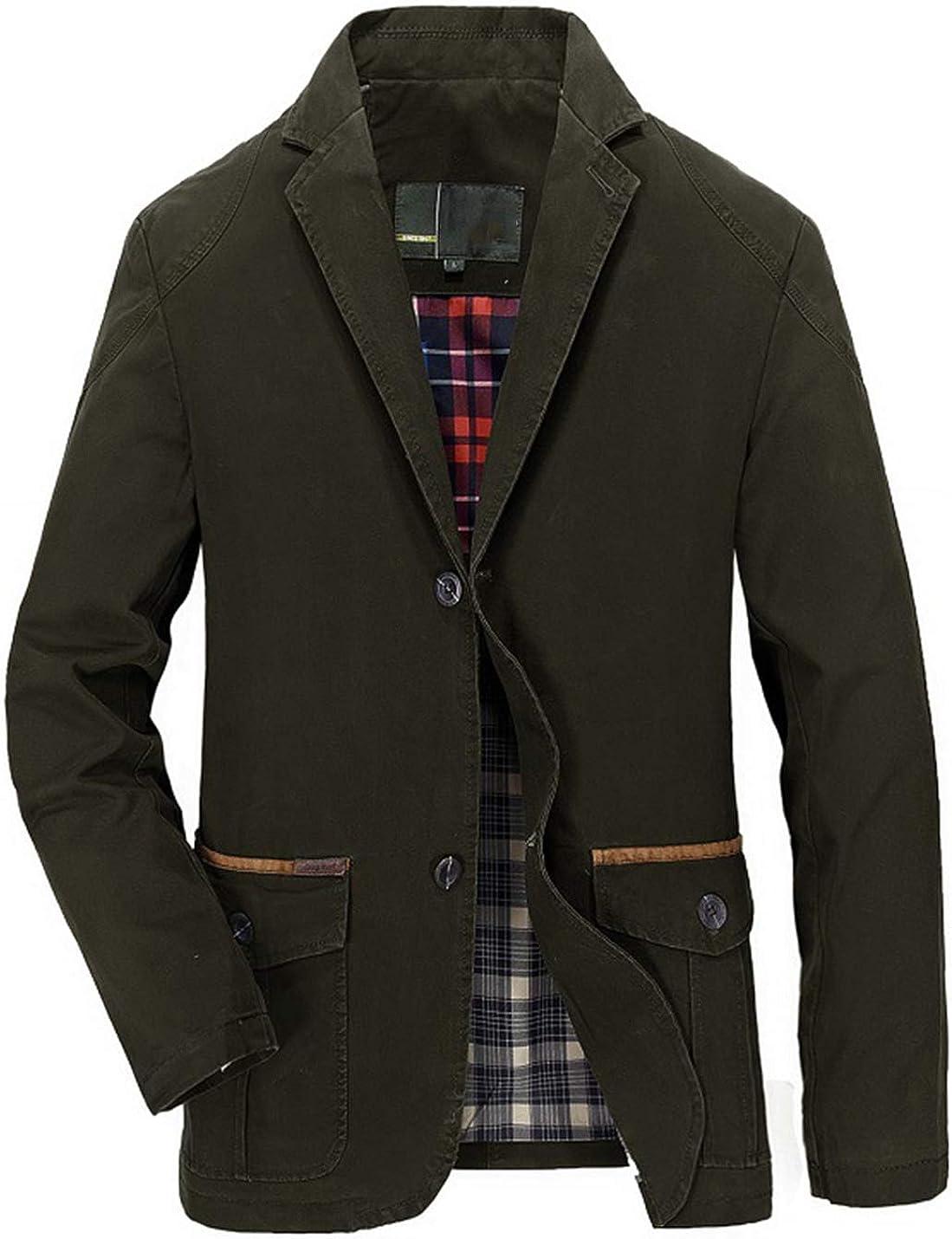 PAODIKUAI Men's Slim Fit Two Button Blazer Casual Suit Jacket Cotton Sport Coat