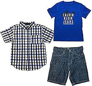 Calvin Klein Jeans Boys Button Shirt, T Shirt and Shorts Set (Blue,2T)