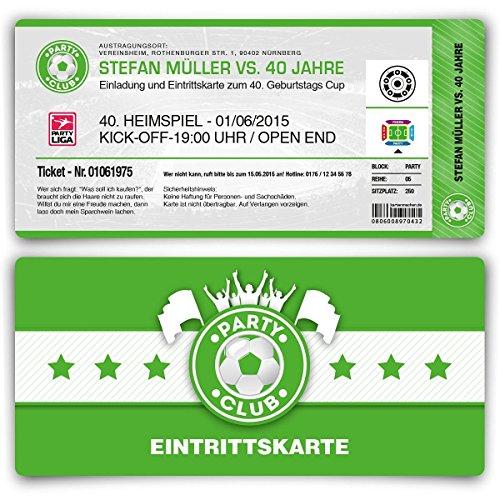 Einladungskarten zum Geburtstag (10 Stück) als Fußballticket Karte Fussball Einladung Ticket in Grün