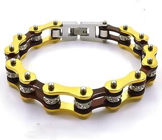 Bracciale motociclista braccialetto catena moto bike uomo donna in acciaio inox color oro e bronzo con shopper e custodia ...