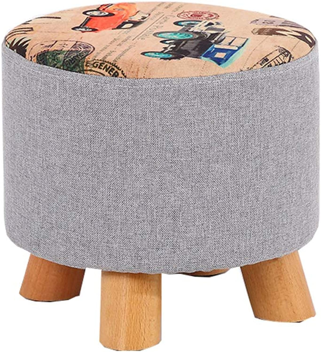 Round Footstool Thick Solid Wood Small Osman shoes Stool Detachable Multi-Function Cloth Classic Car Pattern (28cmx25cm)