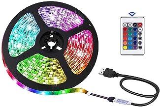 LED Strip Light 16.4ft/5m, Xkey USB Powered LED Light Strip, Non-Waterproof Rope Light Color Changing RGB SMD 5050 Tape Li...