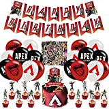 Apex Legends Birthday Party Decorations,Gaming Apex Legends Themed Party Supplies set with Happy Birthday Banner,Cake Cupcake Toppers,Balloons and Stickers for Kids Adults Birthday Party Decorations