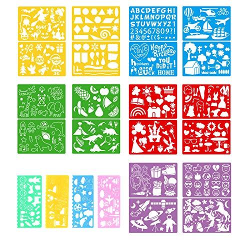 Set di 24 stencil da disegno, stencil per pittura, fai da te e disegni, stencil per diari, album di ritagli, lettere in plastica, stencil per bambini