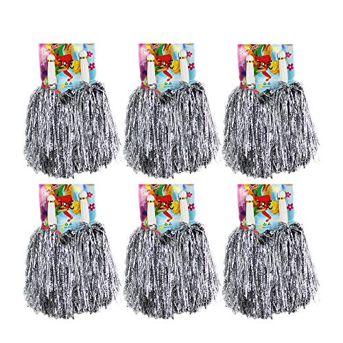 CRIVERS 1 Dutzend Cheerleading Pompons, 12pc Cheerleader Pompoms für Ball Tanzen Schick Kleid Nacht Party Sports (Silber)