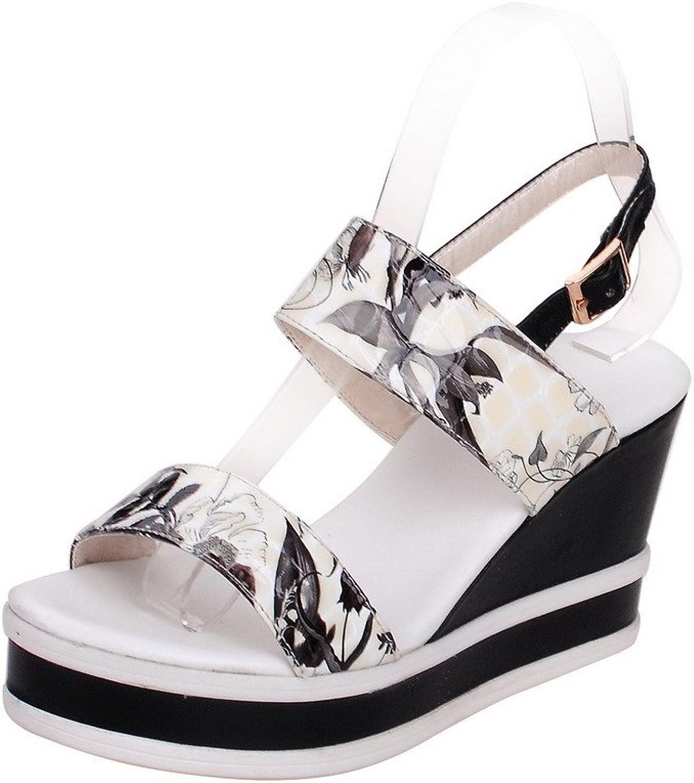 AllhqFashion Women's Kitten Heels Assorted color Buckle Open-Toe Sandals