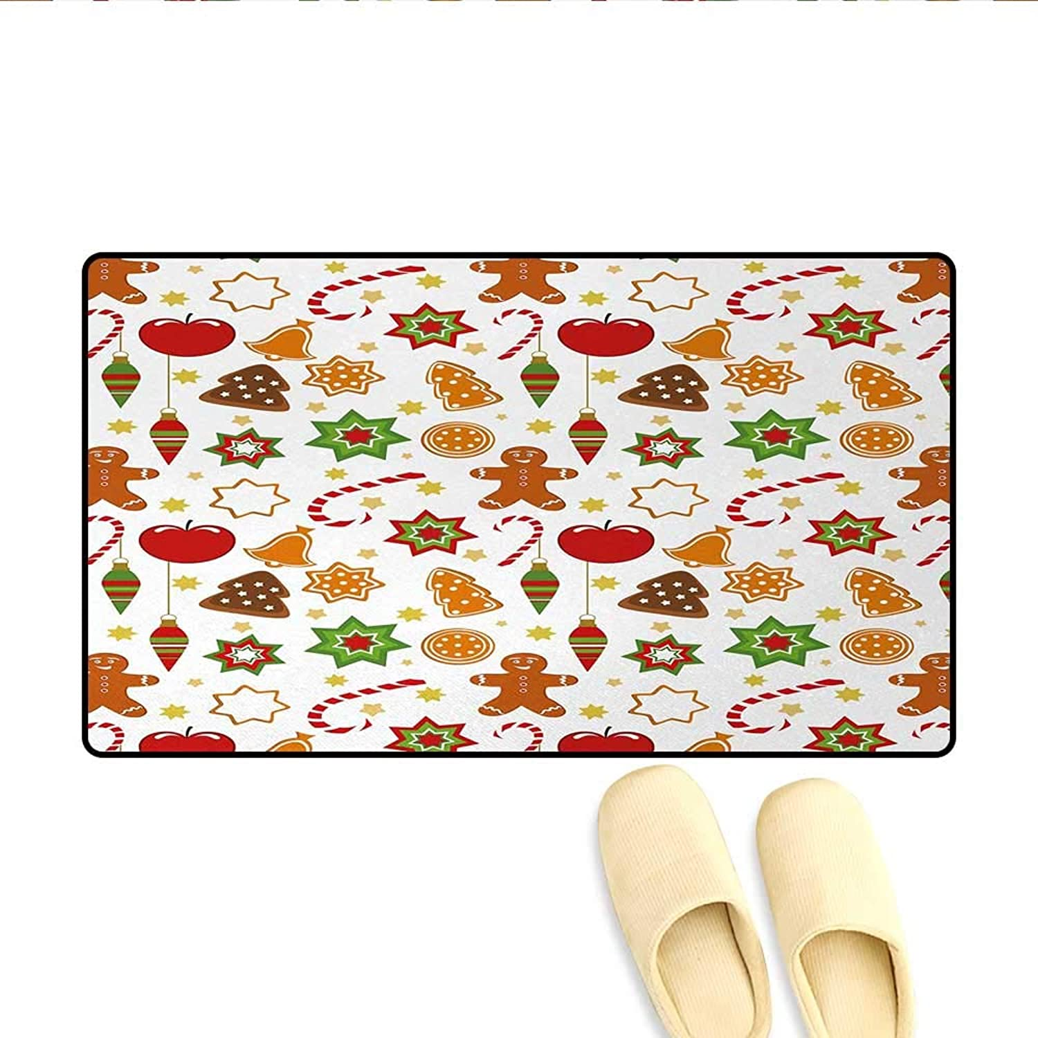 Door-mat,Festive Christmas Icons Graphic Pattern Star Figures Cookies Apples Bells,Door Mats Inside Bathroom Mat Non Slip,Multicolor,Size 32 x48