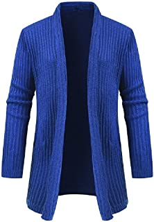 Howely Men Long-Sleeve Cardigan Plus Size Solid Color Knit Outwear Coat