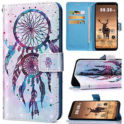 Saceebe Compatible avec Huawei Honor 7A Housse de téléphone Housse Etui Portefeuille Cuir Coque Brillante Bling Glitter 3D Motif Folio Stand Pochette Wallet Coque,Dreamcatcher