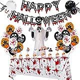 52 Piezas de Globos de Halloween Set,Decoraciones para Fiestas de Halloween, Juego de Globos de látex,Mantel Sangriento,Banner de Feliz Halloween