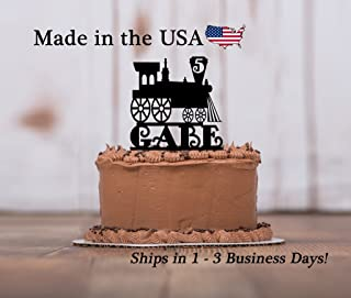 Train Cake Topper with FREE Keepsake Base, Any Age, Choo Choo Train, Locomotive, Train Engineer, Travel, Conductor Party, Personalize, Party Decor, Keepsake