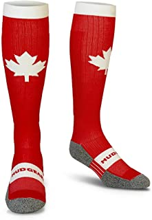 MudGear Canada Compression Socks - Red and White Tall Running Socks for Men and Women