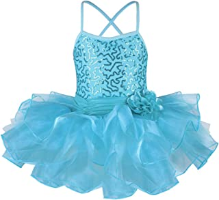 TFJH E Little Girls' Sequin Ballet Tutu Dress Kids Flower Strap Athletic Leotard 2-8 Years