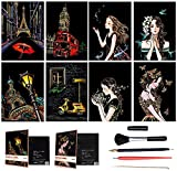 OOFAJ Scratch Art Paper, Scratch Paper Rainbow Painting Sketch Pads DIY Art Craft Night View Scratchboard con 5 Herramientas, Scratch Art para Niños Y Adultos, 8X Scratch Paintings, 21 * 29Cm,B