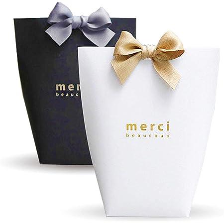Yuecute Lot de 20 Boîtes à dragées découpées au laser avec rubans pour fête de mariage, cadeaux pour invités, décoration de fête, boîtes cadeaux de Pâques, Noir+Blanc, Big