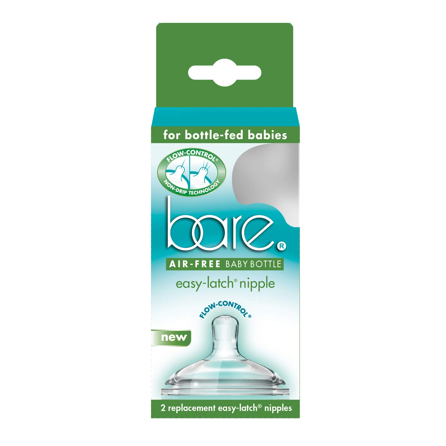 Bittylab Bare Easy-Latch Replacement Nipples for Bare Air-Free Feeding System - Pack of 2