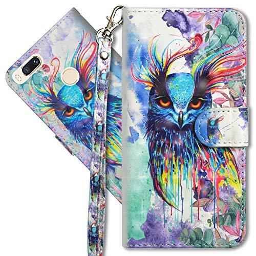 MRSTER Funda para Xiaomi Mi A1, 3D Brillos Carcasa Libro Flip Case Antigolpes Cartera PU Cuero Funda con Soporte para Xiaomi Mi A1 / Xiaomi Mi 5X. YX 3D Colorful Owl
