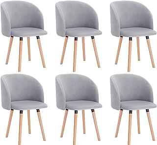 WOLTU 6X Sillas de Comedor Nordicas Estilo Vintage Dining Chairs Juego de 6 Sillas de Cocina Tulip Sillas Tapizadas en Terciopelo Silla de Conferencia Silla de Escritorio Gris BH121gr-6