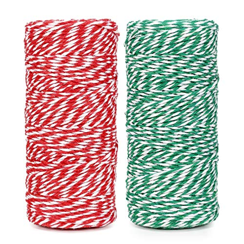 Cotton Bakers Twine String 328 Feet 100m for Baking, Crafts and Christmas Holiday Wrapping Cord (Red/Green)