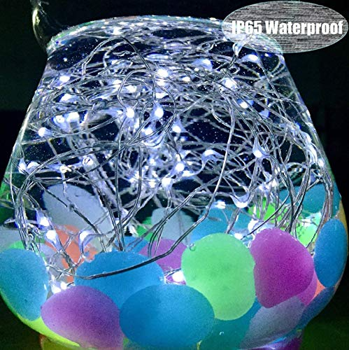LiyuanQ Solar String Lights, 4 Pack 100 LED Solar Fairy Lights 33 Feet 8 Modes Silver Wire Lights Waterproof Outdoor String Lights for Garden Patio Gate Yard Party Wedding Indoor Bedroom Cool White