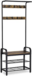 VASAGLE Industrial Coat Rack Shoe Bench, Hall Tree...