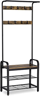 VASAGLE DAINTREE Coat Rack, Shoe Bench, Hall Tree with Storage Shelf for Entryway, Industrial Accent Furniture with Steel Fra