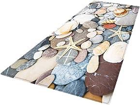 Perfk Non-Woven Fabric Floor Mat Printed Bathroom Non-Slip Area Rug - Beige, 180x60cm