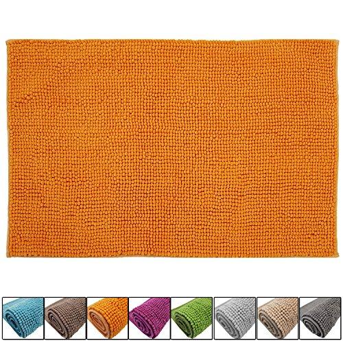 DILUMA Badematte Chenille 50x80 cm Orange Rutschfester Hochflor Badteppich Wellness Badvorleger Saugfähig und Flauschig