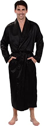 Alexander Del Rossa Mens Lightweight Satin Robe, Solid Colors