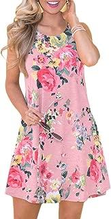Spadehill Women's Summer Casual Boho Floral Swing Tank Dress with Side Pockets