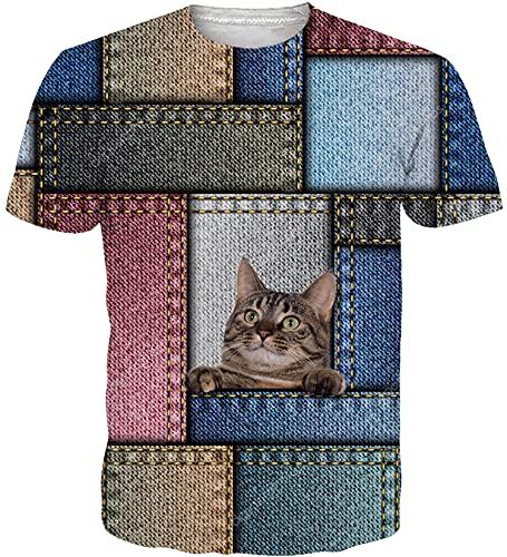 Loveternal Unisex T-Shirt Gato 3D Impreso Camisas Hawaianas Casual...