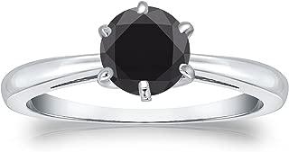 Diamond Wish 14k Gold Round Black Diamond Solitaire Ring (1cttw) 6-Prong, Size 4-9
