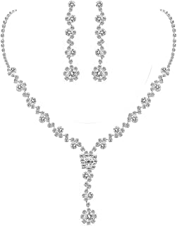 UDORA Crystal Necklace Earrings Bracelet Jewelry Sets for Bridal Bridesmaid Wedding Party