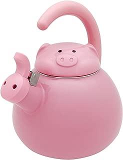 Gourmet Art Pink Pig Enamel-on-Steel Whistling Kettle