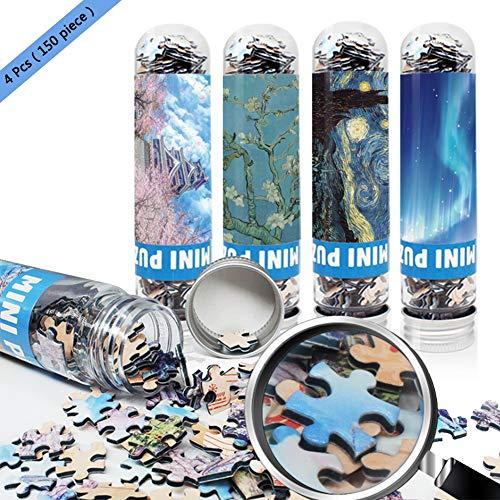 TOLLK LESSE Mini Reagenzglas Puzzle,Tragbares Puzzle für Erwachsene 4er Pack (150 Körner) Pocket Puzzle Kinder Spaß Puzzlespiel Jungen und Mädchen Dekompression Artefakt für Erwachsene