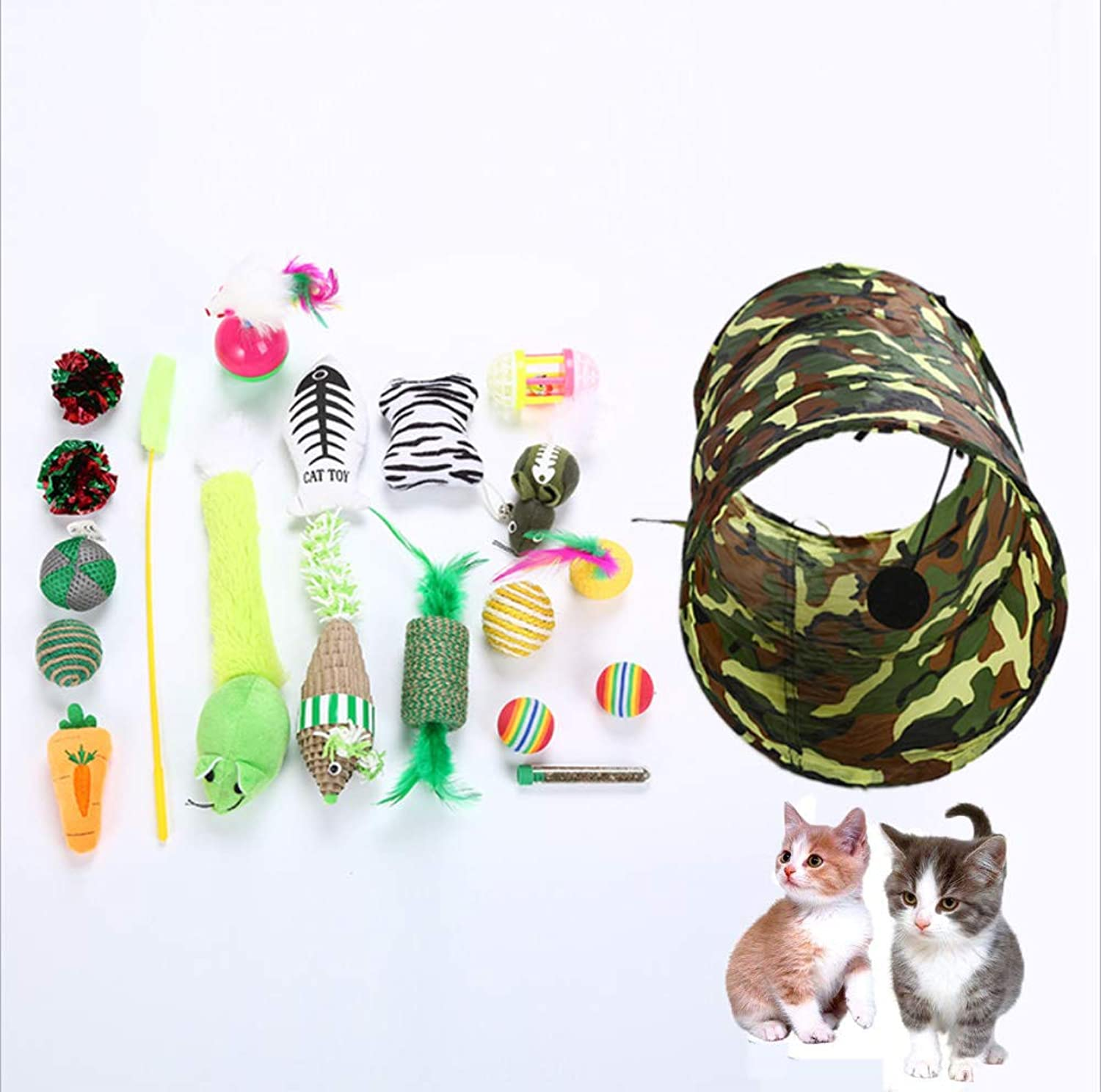 20Pc 2 Way Tunnel Collapsible Cat Tunnel Durable Comfortable Hideaway Pet Crinkle Tunnel for Pets for Cat, Kitty, Kitten, Puppy