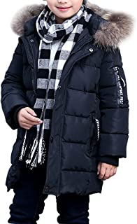 ALAMing Boys Kids Coat Thicked Warm Windproof Jacket with Hood Zip up Pockets Age of 3-10
