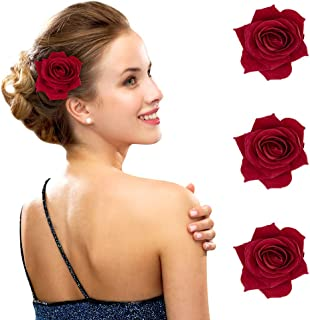 FIOBEE 2.75 Rose Hair Clip Flower Hairpin Rose Brooch Floral Clips for Woman Girl Party Wedding Pack of 3