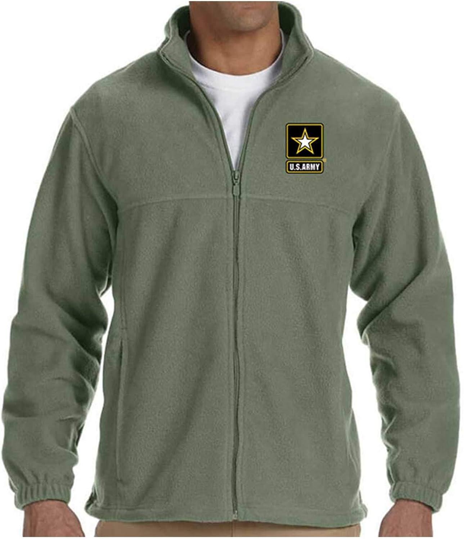 US Army Star Logo Embroidered Fleece Jacket Sage Green Full Zipper