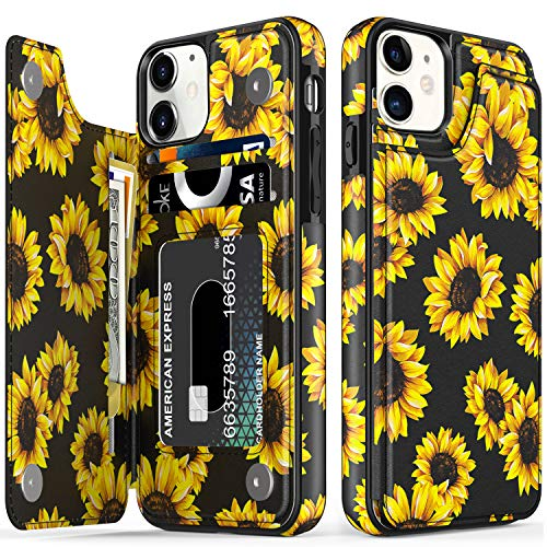 """LETO iPhone 12 Case,iPhone 12 Pro Case,Flip Folio Leather Wallet Case Cover with Fashion Floral Flower Designs for Girls Women,with Kickstand Card Slots,for iPhone 12/12 Pro 6.1"""" Blooming Sunflowers"""