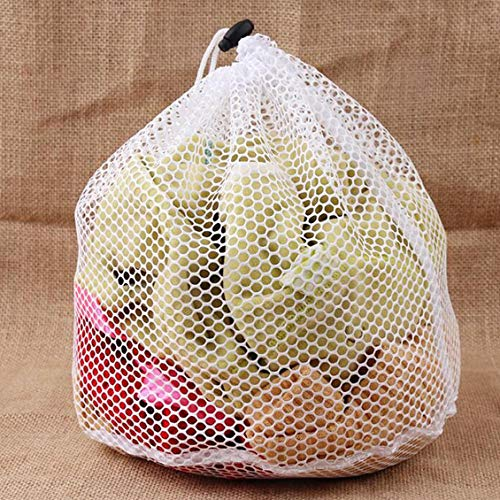 Herramienta de limpieza del hogar Bolsas de lavado de ropa Ropa interior con cordón plegable Sujetador Calcetines Ropa Bolsa de malla Bolsas de lavado para el cuidado - Blanco - XL