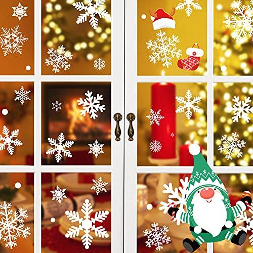 Fesoar 220 PCS Pegatinas Navidad Ventanas, Decoracion de Navidad Copos de Nieve para Casa ⭐
