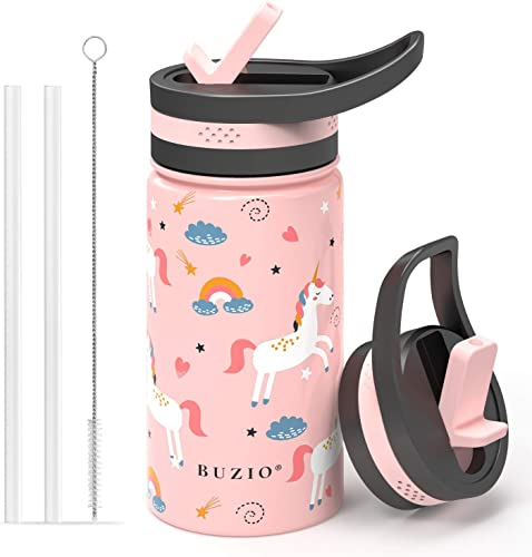 discount BUZIO Insulated Water Bottle for Kids, Modern Vacuum Insulated Hydro Bottle with outlet sale 2 Straw online Lids, 14oz Double Walled Wide Mouth Sports Drink Flask with Pink Unicorn Patterns, Simple Thermo Canteen Mug outlet sale