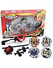 infinitoo Battling Top Bey Burst, Set of 4 Fighter Gyroscope 4D Fusion Model, with Launcher Speed Stater Grip Stater Metal Fight, Gold Evolution Battle Top Set Classic for Children