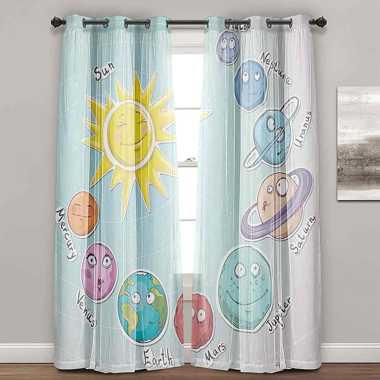 Black Cash special price Out Curtains Cute Cartoon Sun 55% OFF of Planets Solar System and