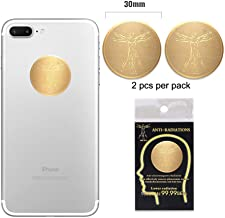 Anti Radiation Protector Shield EMF Protection Cell Phone Sticker Cell Phone EMR Blocker for All Mobile Phones, iPad, MacBook, Computer, Laptop (Gold 2pcs)