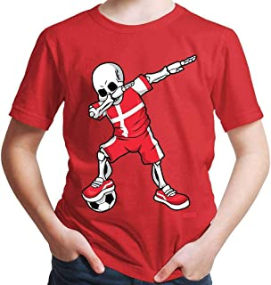 Hariz - Camiseta de fútbol para niño con diseño de esqueleto de Dinamarca, incluye tarjeta de regalo