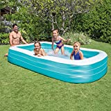 Fácil De Montar Piscina Hinchable Familiar,Rectangular Espesar Piscinas Infantiles,Plegable Swim Center Con Depuradora,3-anillo Piscina Inflable Familiar Para El Jardín Q 305x183x56cm(120x72x22inch)