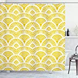 ABAKUHAUS Amarillo Cortina de Baño, Escalas japonesas del Vintage, Material Resistente al Agua Durable Estampa Digital, 175 x 200 cm, Amarillo Blanco